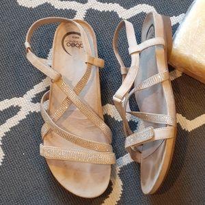 Abeo Gold Sparkle Strap Sandals 10